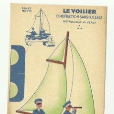 Coleccionismo Recortables: VELERO-LE VOULIER- CONTRUCTION SANS COLLAGE-PUBLICIDAD DE BLEDINE,BLECAO- FRANCE-VELL I BELL . Lote 127746795