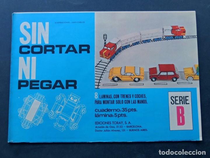 8 RECORTABLES DE TRENES Y COCHES / SEAT 600 - 850 / SIN CORTAR NI PEGAR / ED.TORAY 1970 / SIN USAR (Coleccionismo - Recortables - Transportes)