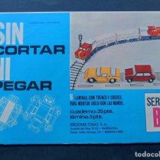 Coleccionismo Recortables: 8 RECORTABLES DE TRENES Y COCHES / SEAT 600 - 850 / SIN CORTAR NI PEGAR / ED.TORAY 1970 / SIN USAR. Lote 136477196