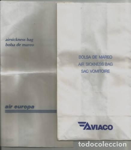 AVIACION 5 BOLSAS DE MAREO AIRSICKNESS BAGS LINEA AEREA SPANAIR AIR EUROPA AVIACO AIRLINES (Coleccionismo - Recortables - Transportes)