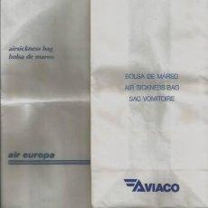 Coleccionismo Recortables: AVIACION 5 BOLSAS DE MAREO AIRSICKNESS BAGS LINEA AEREA SPANAIR AIR EUROPA AVIACO AIRLINES . Lote 133544942
