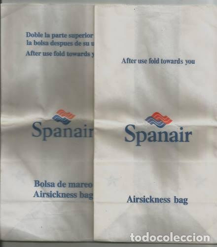 Coleccionismo Recortables: AVIACION 5 BOLSAS DE MAREO AIRSICKNESS BAGS LINEA AEREA SPANAIR AIR EUROPA AVIACO AIRLINES - Foto 2 - 133544942