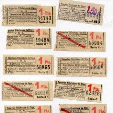 Coleccionismo Recortables: LOTE DE 10 BILLETES DE TRANVÍAS ELÉCTRICOS DE VIGO CAPICUAS CON VALOR 1 PESETA SERVICIO ORDINARIO. Lote 139827002