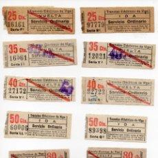 Coleccionismo Recortables: LOTE DE 10 BILLETES DE TRANVÍAS ELÉCTRICOS DE VIGO CAPICUAS SERVICIO ORDINARIO DIFERENTES PRECIOS. Lote 139827049