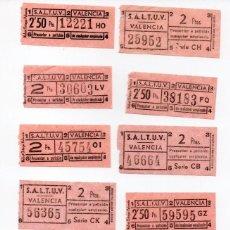 Coleccionismo Recortables: LOTE DE 10 BILLETES DE AUTOBUS CAPICUAS DE LA EMPRESA S.A.L.T.U.V. DE VALENCIA DIFERENTES PRECIOS. Lote 137721910