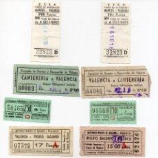 Coleccionismo Recortables: LOTE DE 10 BILLETES DE AUTOBUS Y TRANVÍA CAPICUAS PARA DIFERENTES SITIOS DE VALENCIA Y SAGUNTO. Lote 137722078