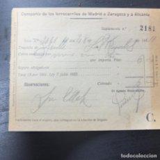Coleccionismo Recortables: SUPLEMENTO BILLETE DE TREN -MADRID ZARAGOZA Y A ALICANTE -1932. Lote 151588634