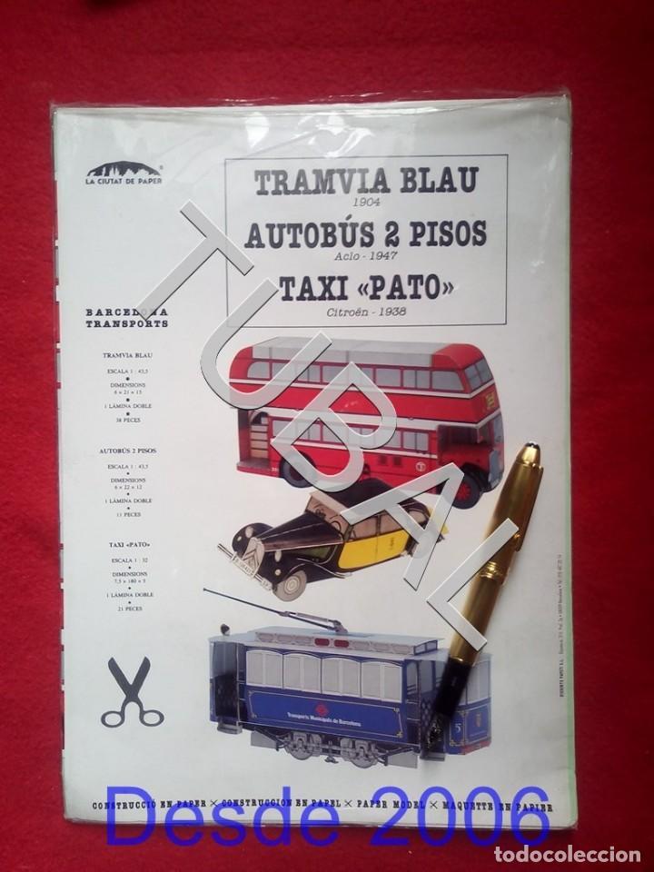 TUBAL BONITO RECOTABLE TRAMVIA BLAU AUTOBUS 2 PISOS Y TAXI PATO DE BARCELONA F1 (Coleccionismo - Recortables - Transportes)
