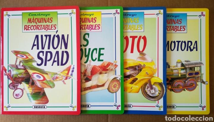 LOTE CONSTRUYE MÁQUINAS RECORTABLES (SUSAETA). INCLUYE AVIÓN SPAD / ROLLS ROYCE / MOTO / LOCOMOTORA. (Coleccionismo - Recortables - Transportes)