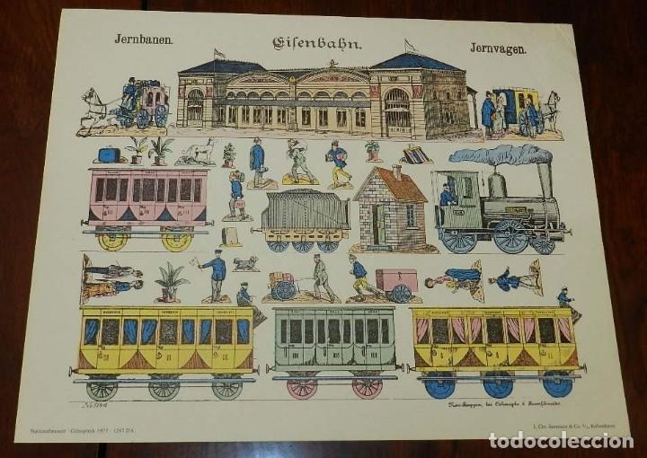RECORTABLE JERNBANEN, JERNVAGEN, FERROCARRILES, TREN, PAPER CUTTING, NATIONALMUSEET GENOPTRYK 1977, (Coleccionismo - Recortables - Transportes)