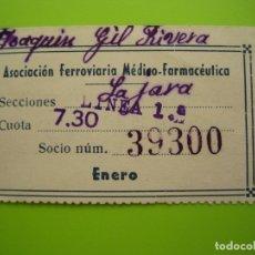 Coleccionismo Recortables: ANTIGUO BILLETE DE TREN 1950. LÍNEAS 1 LA JARA. CÓRDOBA. . Lote 175321298