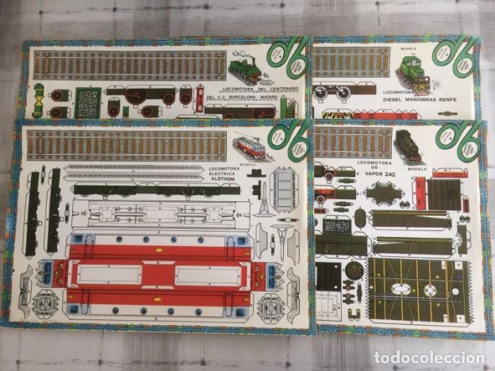 4 LAMINAS RECORTABLES DE LOCOMOTORAS. EDITORIAL ROMA 1982 (Coleccionismo - Recortables - Transportes)