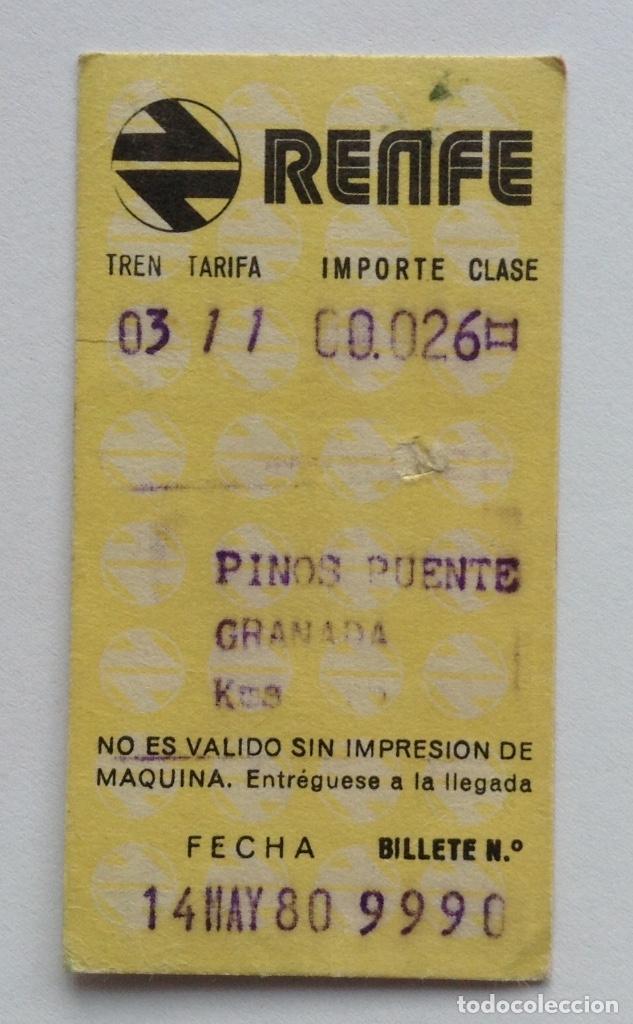 BILLETE TREN PINOS PUENTE GRANADA RENFE 1980 (Coleccionismo - Recortables - Transportes)