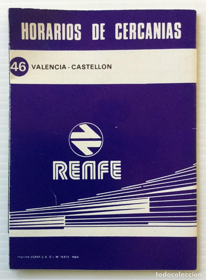 Coleccionismo Recortables: Horarios de Cercanías 46 Valencia – Castellón RENFE – 1984 - Egraf - Foto 2 - 183714117