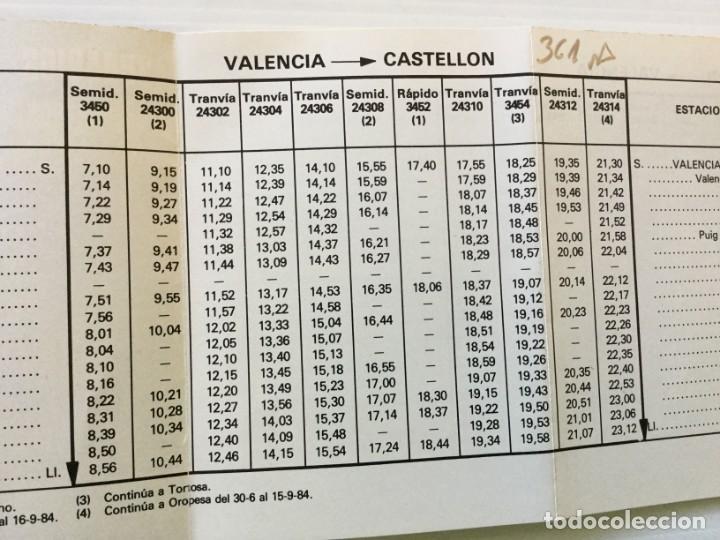 Coleccionismo Recortables: Horarios de Cercanías 46 Valencia – Castellón RENFE – 1984 - Egraf - Foto 6 - 183714117