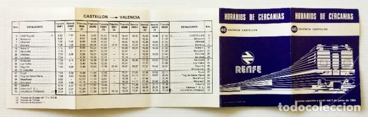 Coleccionismo Recortables: Horarios de Cercanías 46 Valencia – Castellón RENFE – 1984 - Egraf - Foto 8 - 183714117