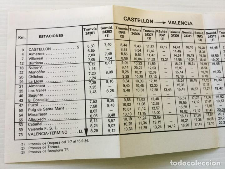 Coleccionismo Recortables: Horarios de Cercanías 46 Valencia – Castellón RENFE – 1984 - Egraf - Foto 9 - 183714117