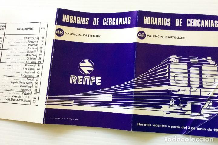 Coleccionismo Recortables: Horarios de Cercanías 46 Valencia – Castellón RENFE – 1984 - Egraf - Foto 10 - 183714117
