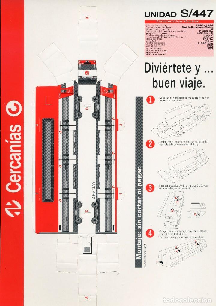 Coleccionismo Recortables: 3 LÁMINAS RECORTABLES. TREN S/447 DE CERCANIAS DE RENFE - ESCALA N - Foto 4 - 261247100