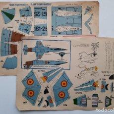 Coleccionismo Recortables: 2 ANTIGUOS RECORTABLES AVION CAZA DE GUERRA. Lote 194096547