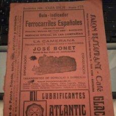 Coleccionismo Recortables: FERROCARRILES ESPAÑOLES - GUIA RICH - SEPTIEMBRE 1933. Lote 204083021