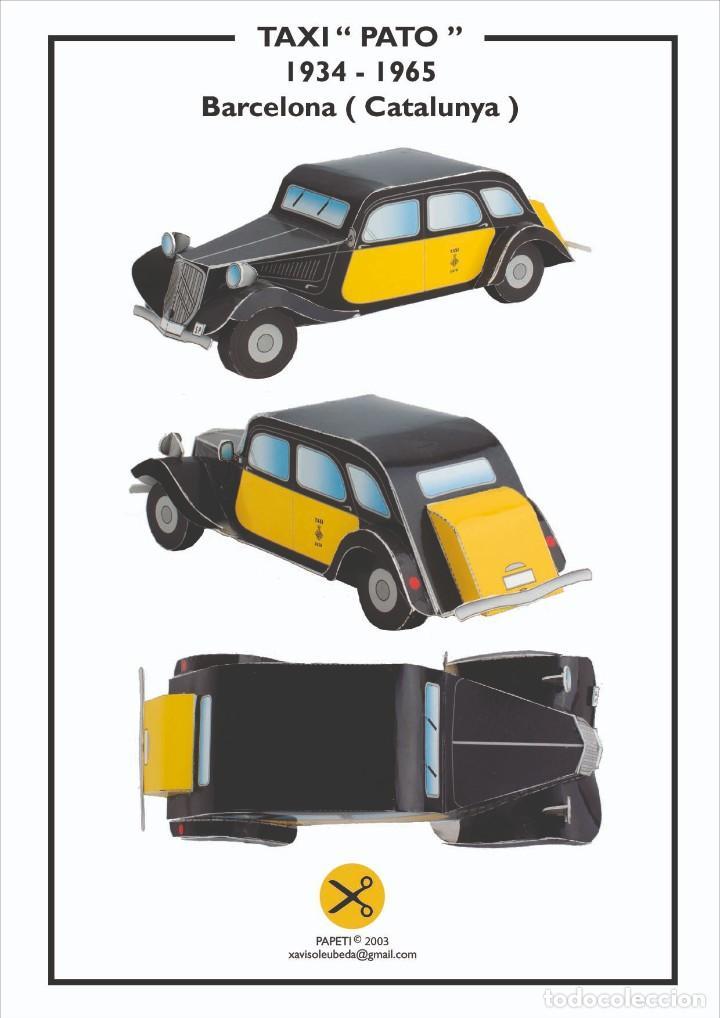 MAQUETA RECORTABLE DELTAXI DE BARCELONA (Coleccionismo - Recortables - Transportes)