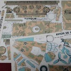Colecionismo Recortáveis: LOTE 3 RECORTABLE AVION CAZA..BUQUE Y TANQUE.... Lote 217022796