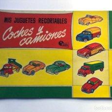 Coleccionismo Recortables: COCHES Y CAMIONES / MIS JUGUETES RECORTABLES - MUNDO INFANTIL / BRUGUERA AÑOS 50 / 6 LAMINAS. Lote 223946856
