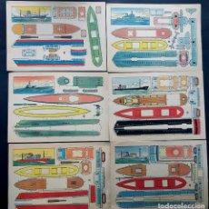 Coleccionismo Recortables: 6 RECORTABLES DE BARCOS / ILUSTRADOR - PLA / AÑOS 60 / 29,5 X 21. Lote 224199653