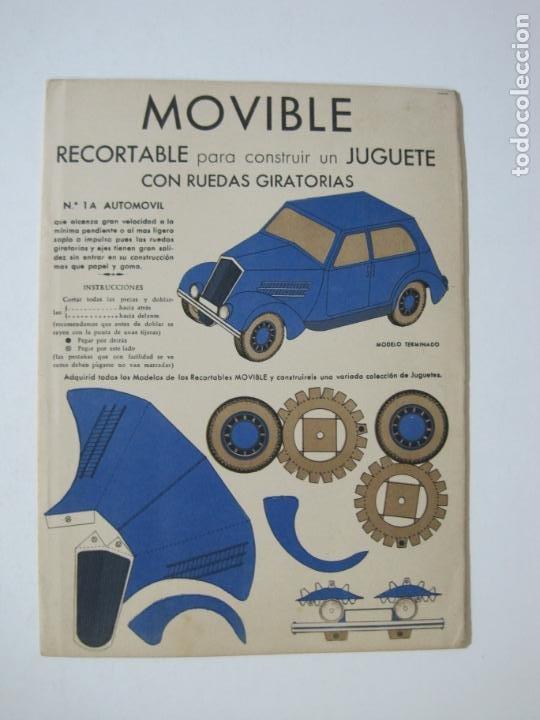 MOVIBLE RECORTABLE-COCHE CON RUEDAS GIRATORIAS-RECORTABLE ANTIGUO-VER FOTOS-(K-1465) (Coleccionismo - Recortables - Transportes)