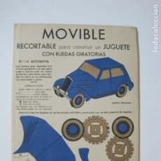 Coleccionismo Recortables: MOVIBLE RECORTABLE-COCHE CON RUEDAS GIRATORIAS-RECORTABLE ANTIGUO-VER FOTOS-(K-1465). Lote 231671465