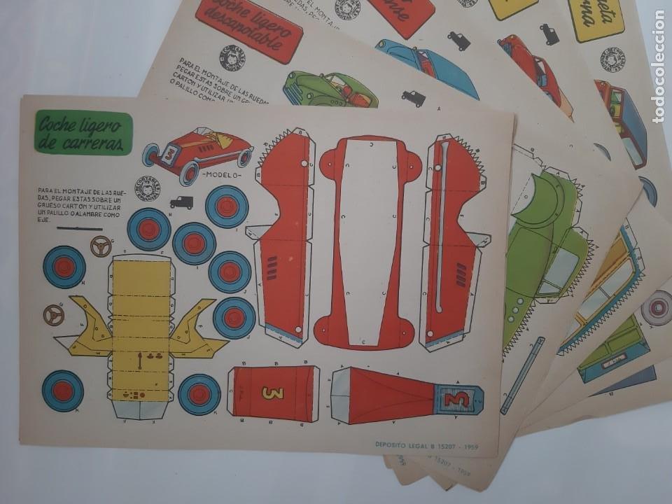 11 ANTIGUOS RECORTABLES BRUGUERA 1959 COCHE CARRERAS DESCAPOTABLE INGLES JEEP FAIRCHILD CAMION RV (Coleccionismo - Recortables - Transportes)