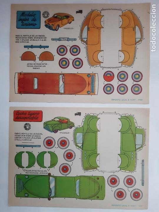 Coleccionismo Recortables: 11 ANTIGUOS RECORTABLES BRUGUERA 1959 COCHE CARRERAS DESCAPOTABLE INGLES JEEP FAIRCHILD CAMION RV - Foto 2 - 236882810