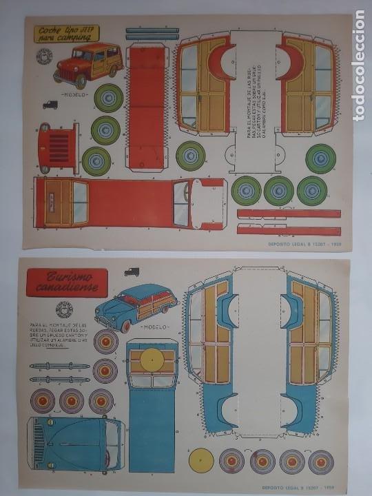 Coleccionismo Recortables: 11 ANTIGUOS RECORTABLES BRUGUERA 1959 COCHE CARRERAS DESCAPOTABLE INGLES JEEP FAIRCHILD CAMION RV - Foto 3 - 236882810