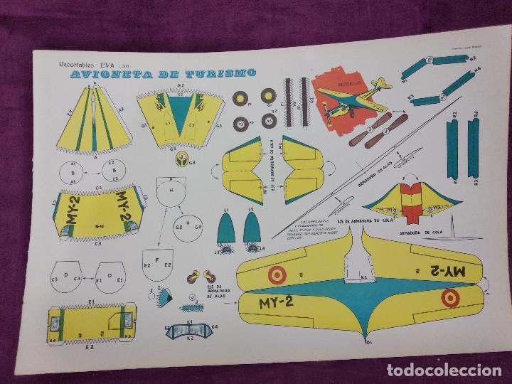 Coleccionismo Recortables: Hoja con recortable de Vehículos, Avioneta de Turisom, Recortables Eva, 1965, unos 45 x 30 cms. - Foto 3 - 242046755