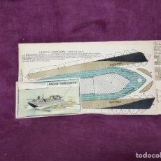 Coleccionismo Recortables: HOJAS CON RECORTABLES DE TRANSPORTES, LANCHA TORPEDERA, COMPLETO, MEDIADOS XX, 38 X 17 CMS.. Lote 242093665