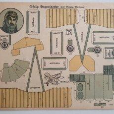 Coleccionismo Recortables: RECORTABLE AVIÓN - AVIADORES - ALEMANIA - 17,8 X 14,7. Lote 242348680