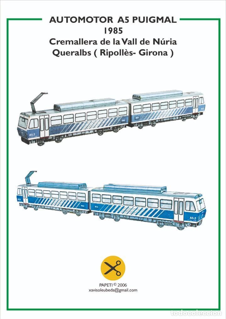 MAQUETA RECORTABLE LOCOMOTORA AUTOMOTOR A5 PUIGMAL (CREMALLERA VALL DE NURIA ) (Coleccionismo - Recortables - Transportes)