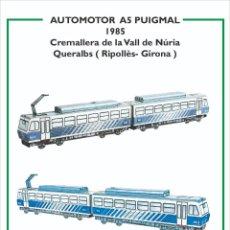 Coleccionismo Recortables: MAQUETA RECORTABLE LOCOMOTORA AUTOMOTOR A5 PUIGMAL (CREMALLERA VALL DE NURIA ). Lote 262811455