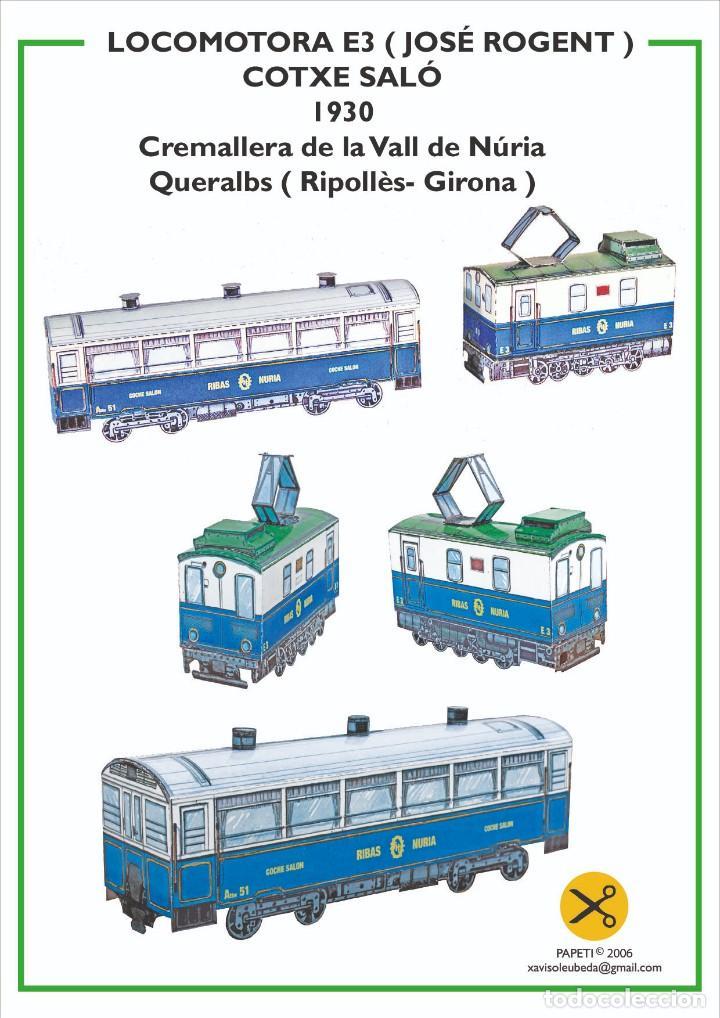 MAQUETA RECORTABLE LOCOMOTORA E3 + COTXE SALÓ (CREMALLERA VALL DE NURIA ) (Coleccionismo - Recortables - Transportes)