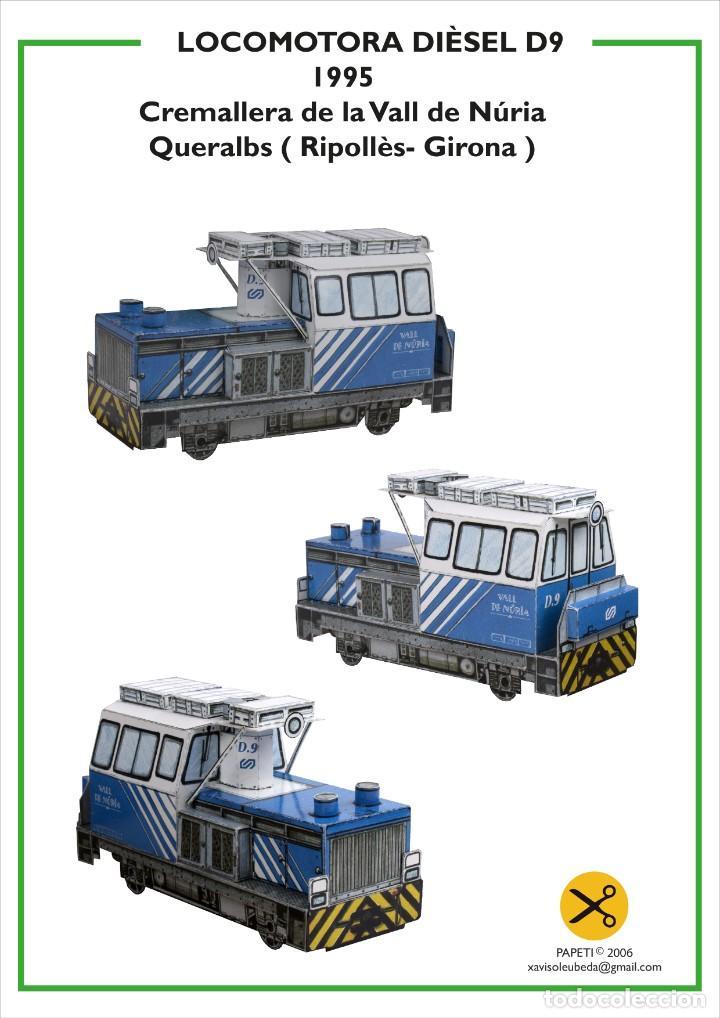MAQUETA RECORTABLE LOCOMOTORA DIESEL D9 (CREMALLERA VALL DE NURIA ) (Coleccionismo - Recortables - Transportes)