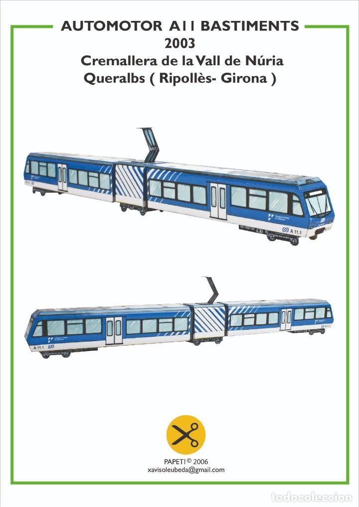 MAQUETA RECORTABLE LOCOMOTORA AUTOMOTOR A11 ARTICULADO (CREMALLERA VALL DE NURIA ) (Coleccionismo - Recortables - Transportes)