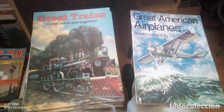 2 REVISTAS EN INGLES DE RECORTABLES DE GRANDES TRENES Y AVIONES AMERICANOS (Coleccionismo - Recortables - Transportes)