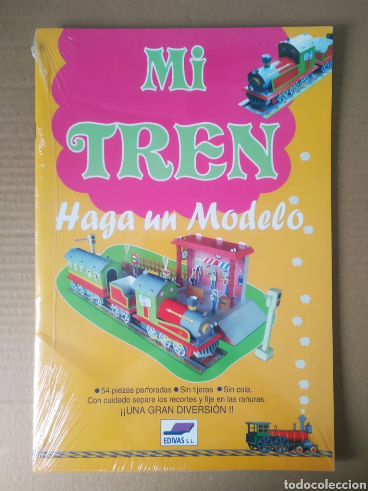 RECORTABLE MI TREN: HAGA UN MODELO (EDIVAS, 2006). PRECINTADO. 54 PIEZAS. GRAN FORMATO. (Coleccionismo - Recortables - Transportes)