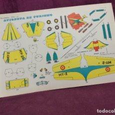 Coleccionismo Recortables: HOJA CON RECORTABLE DE VEHÍCULOS, AVIONETA DE TURISMO, RECORTABLES EVA, 1965, UNOS 45 X 30 CMS.. Lote 287742203