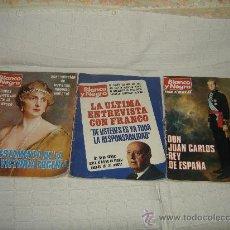Coleccionismo de Revista Blanco y Negro: BLANCO Y NEGRO. 3 UNIDADES, AÑOS 1976-1977. TESTAMENTO DE LA REINA V. EUGENIA, FRANCO, EL REY.... Lote 29355474