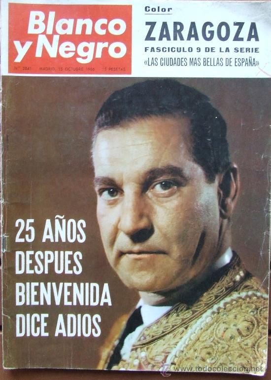 ANTONIO BIENVENIDA – REVISTA BLANCO Y NEGRO 2841 OCTUBRE 1966 (Coleccionismo - Revistas y Periódicos Modernos (a partir de 1.940) - Blanco y Negro)