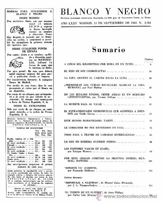 Coleccionismo de Revista Blanco y Negro: Revista Blanco y Negro - Septiembre 1965 - Esta abierto el camino a la luna. - Foto 2 - 36789034