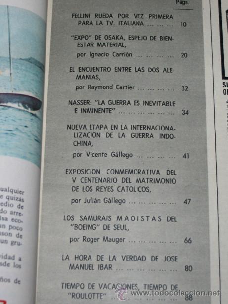 Coleccionismo de Revista Blanco y Negro: BLANCO Y NEGRO Nº 3023, 11 ABRIL 1970, TRIUNFO DE URTAIN EXPO DE OSAKA DOS ALEMANIAS NASSER SAMURAIS - Foto 2 - 50963758