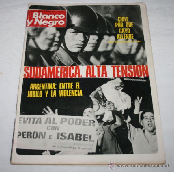 BLANCO Y NEGRO Nº 3205, 6 OCTUBRE 1973, CHILE, VIOLENCIA EN ARGENTINA, FRANCO 37 AÑOS, RUMANIA (Coleccionismo - Revistas y Periódicos Modernos (a partir de 1.940) - Blanco y Negro)